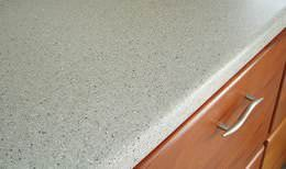 Corian kitchen countertop and mahogany drawer