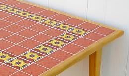 Wood table with Mexican tile top